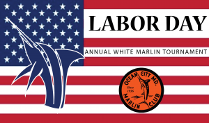 american flag with white marlin for labor day tournament
