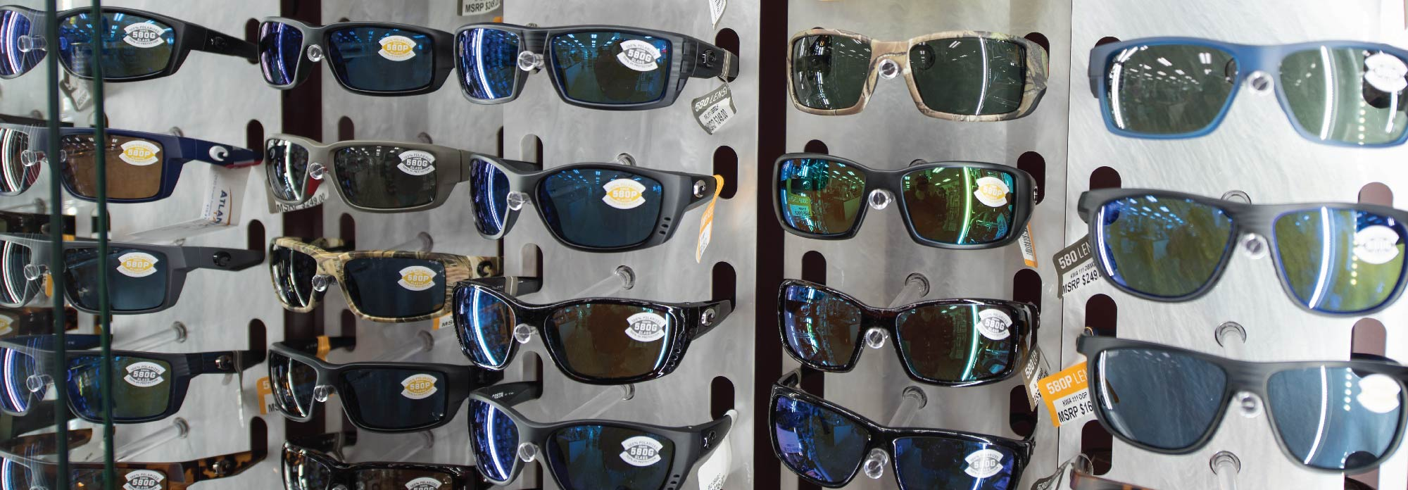 Different colored sunglasses for sale at Atlantic Tackle