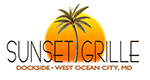 Sunset Grille logo with a plam tree in the middle