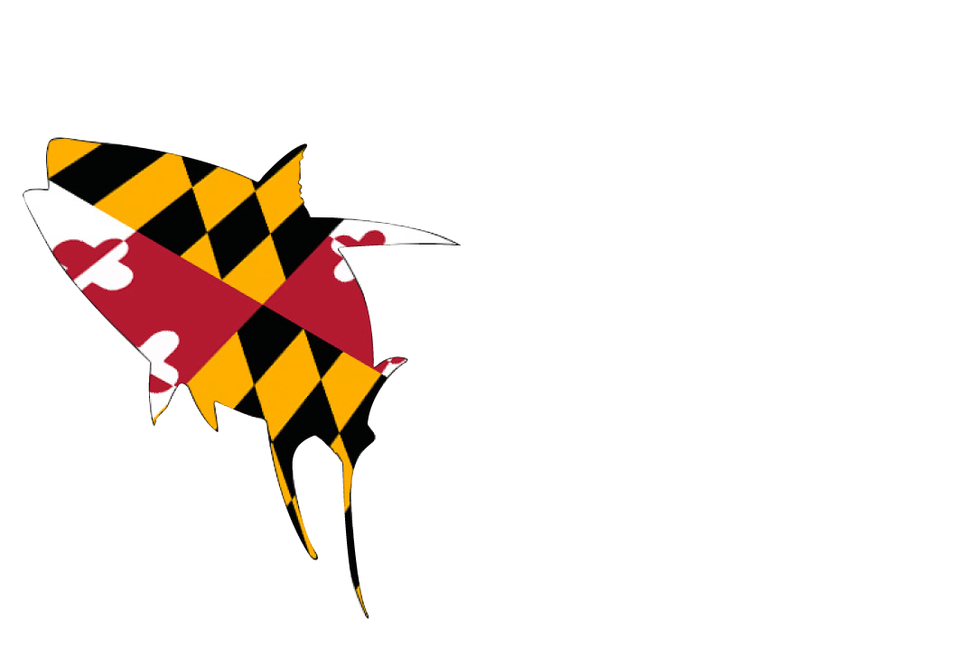 OC Tuna Tournament text next to a Maryland flag shaped like a tuna